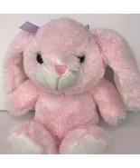 Okie Dokie Pink Bunny Plush White Feet Purple Bows Plastic Eyes Stuffed ... - $48.37