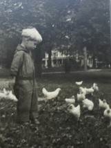 Antique Photograph Little Boy with Chickens in Yard 25915 - $17.81