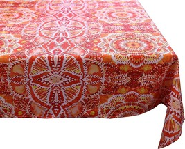 ORANGE RED YELLOW AUREOLA WATER REPELLENT ROUND TABLECLOTH DINING 152CM 6 - $19.03