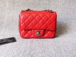 AUTHENTIC CHANEL RED QUILTED CAVIAR SQUARE MINI CLASSIC FLAP BAG SHW