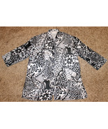 COMFY 3/4 SLEEVE WHITE BLACK FLORAL SHEER BUTTON DOWN SHIRT TOP BLOUSE S... - $12.99