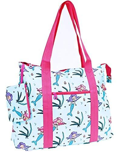 Mermaid Print Large Tote Bag Purse Travel Luggage Blue