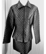 Valentino Designer Skirt Jacket Combo Gun Metal Grey Quilted Runway Size M - $476.53