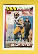 HENRY ELLARD AUTOGRAPHED CARD 1991 TOPPS 1000 YARD CLUB LOS ANGELES RAMS - $4.98