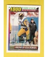 HENRY ELLARD AUTOGRAPHED CARD 1991 TOPPS 1000 YARD CLUB LOS ANGELES RAMS - $4.98