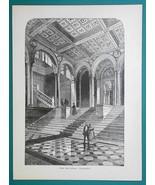 GERMANY Berlin National Gallery Grand Stairs - 1877 Wood Engraving Illus... - $8.09