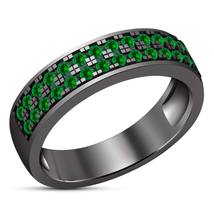 Wedding Band Women's Ring Round Cut Green Sapphire Black Gold Plated 925 Silver - $95.99