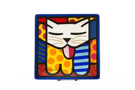 Romero Britto Square Side Plates 3 Designs Available Dolomite Vibrant Color image 3