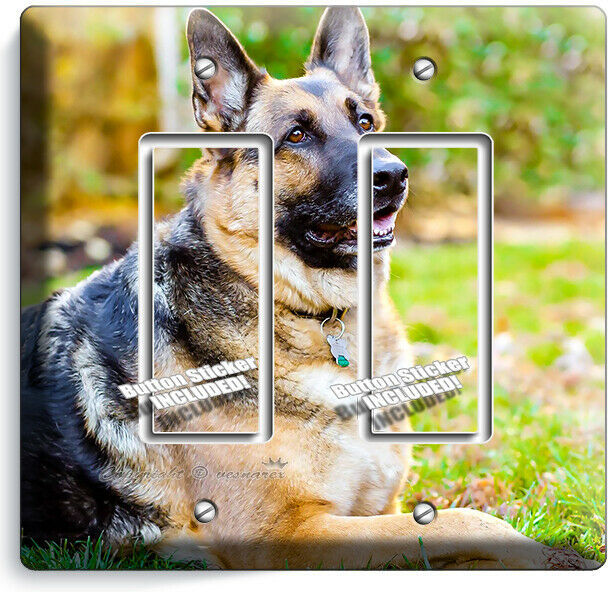 GERMAN SHEPHERD DOG RELAXING LIGHT SWITCH 2 GFCI WALL COVER GROOMING SALON DECOR