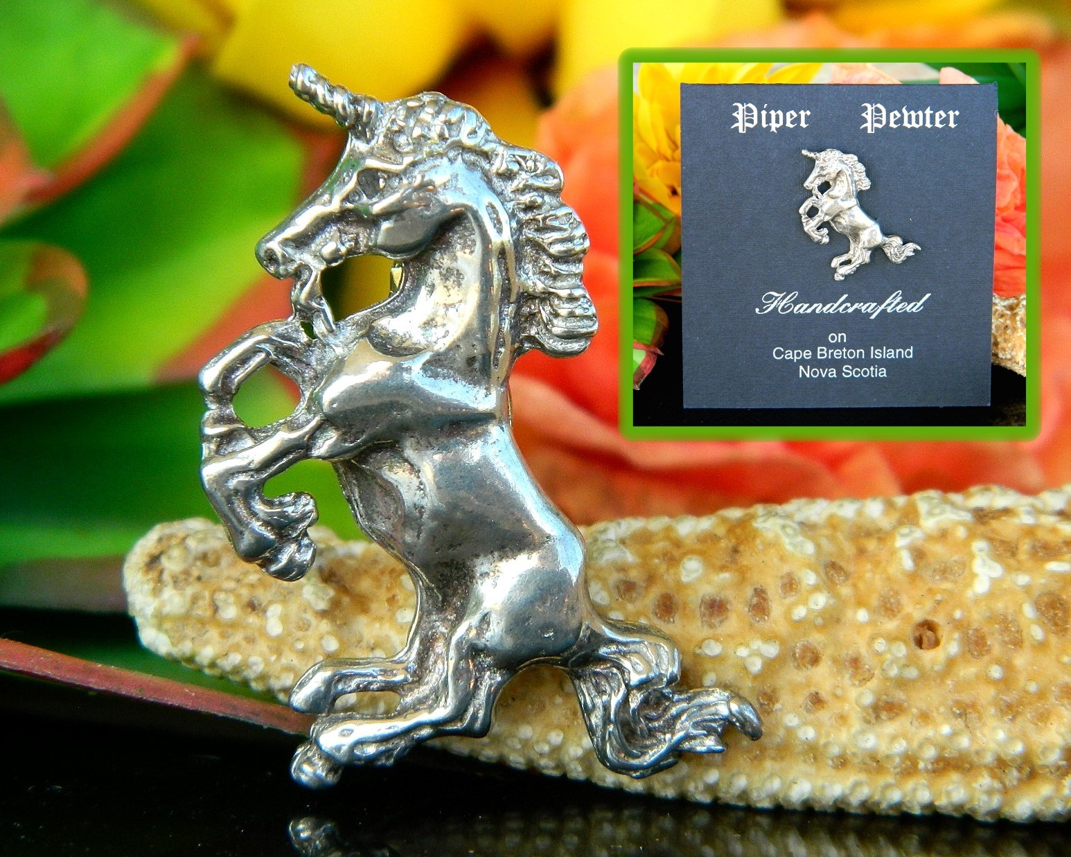 Unicorn figural brooch pin piper pewter handcrafted nova scotia canada
