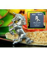 Unicorn Figural Brooch Pin Pewter Hand Crafted Nova Scotia Canada - $17.95