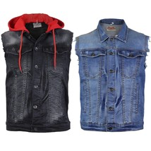 CS Men's Ripped Distressed Button Up Denim Jean Vest With Removable Hood