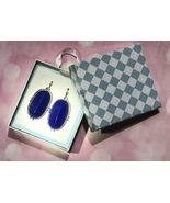 Women's Earrings, Silver-finished steel, Blue teardrop, fishhook ear wire - $9.85