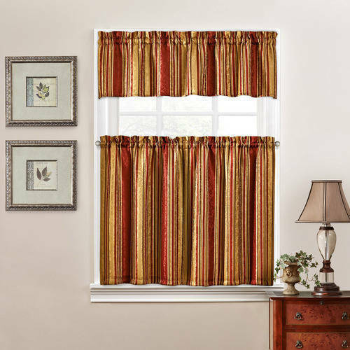 3PC Waverly Stripe Ensemble Kitchen Curtain Set Tiers Valance Crimson 52x36 - $22.76