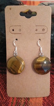 Natural Lucky Tigers Eye Earrings Earwires Marked 925 Sliver Women Men G... - $9.41