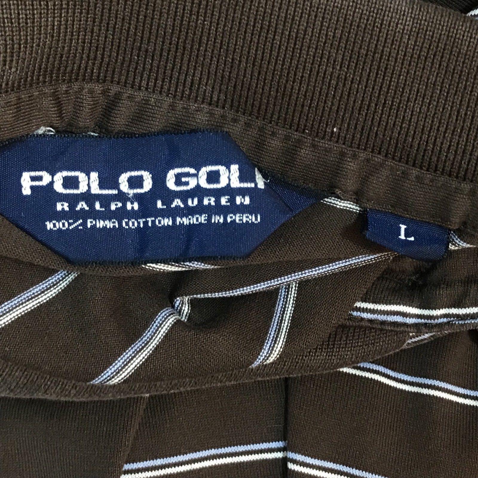Polo Ralph Lauren Golf Pima Cotton Brown Purple Logo Striped Short Sleeve Large