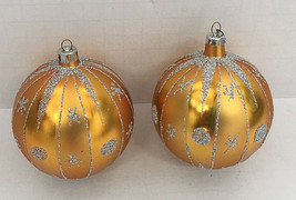 vintage gold with silver glitter two round Christmas tree  ornaments bul... - $12.17