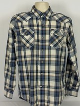 Wrangler Jeans Mens Medium M Western Pearl Snap Button Front Shirt Plaid - $15.83