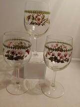 """Portmeirion Botanic Garden 12oz Stem Wine Glass Goblet 7-1/2"""" Tall lot of 3 - $33.65"""