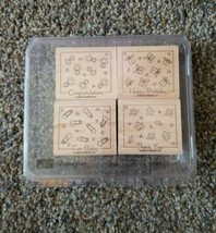 Stampin Up -Fabulous Four-Stamp- Set Of 4 Great Condition In Case - $6.89