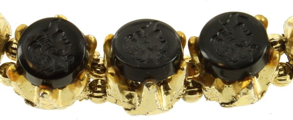 """Vintage Designer Jet Black Glass Intaglio Lady Profile Cabs Bracelet 7""""Gold Tone image 2"""