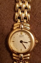 Citizen Elegance ladies quartz watch gold band gold case and face vintage - $25.00