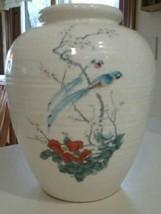 Vintage Pottery Craft USA Large Vase Handpainted Asian Bird Scene - $15.99