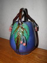 Beautiful Art Pottery Vase Basket Twig Handle B... - $54.67