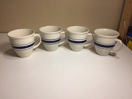 (4) Stoneware TIENSHAN Country Crock BLUE Bands Rings Large Cup MUGS Belly - $26.17