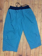 NIKE Womens L 12-14 Capri Athletic Pants Elastic Waist Work Out Blue Lightweight - $22.95