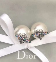 Authentic Christian Dior Tribales Earrings Multicolor Crystal Wasp Bee Pearl