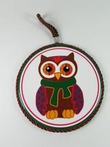 Winter Owl Round Hanging Wall Decor Art - $7.75