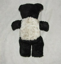 Vintage Stuffed Plush Teddy Bear Black White Panda Plaid Ears image 2
