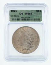 1921 $1 Silver Morgan Dollar Graded by ICG as MS-64! Gorgeous Morgan! - $74.24