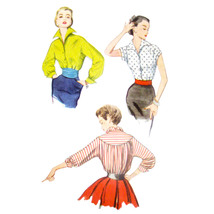 1950s Vintage Simplicity Sewing Pattern 4237 Misses Blouse Wing Collar 1... - $9.95