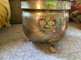 Vintage Hammered Brass copper Lion Head with Claw Feet Planter Pot - $125.00