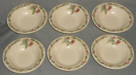 Set (6) Pfaltzgraff Jamberry Pattern Rimmed SOUP/CEREAL Bowls Made In Usa - $55.43