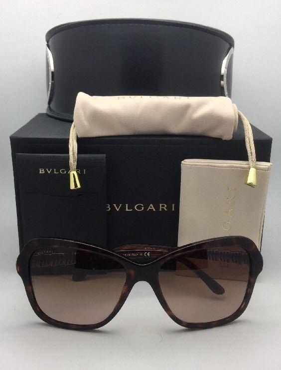 New BVLGARI Sunglasses 8142-B 5268/13 Tortoise Frame w/ Crystals & Brown Fade
