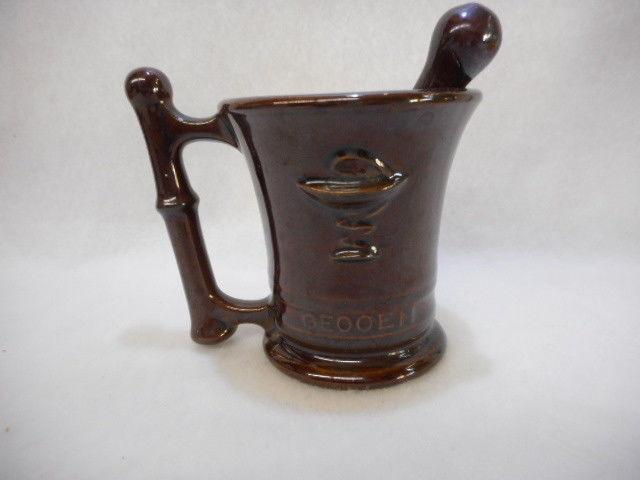 Vintage Hygeia Oepatteyma Oeooen Mortar RX Brown with Pestal Glazed