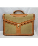 "Vintage Schlesinger Brothers Leather Cloth Briefcase Brown 16.5""x12""x3"" ... - $77.39"