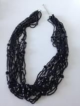 black & silver colored beaded multi strand necklace - $24.99