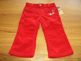 Osh Kosh B'gosh girls 24M months pants corduroy NWT 26.00 flowers red ^^ - $7.56
