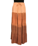 70s Orange Apricot Ginger Spice Ombre Tiered Gathered Hippie Broomstick ... - $41.00