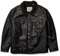 Levi's Men's Faux Leather Sherpa Lined Trucker Jacket, Black, Size L - £80.41 GBP