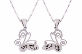 "(2) ""Big Sis"" & ""Lil Sis"" Butterfly Pendants~Each Pendant on 18"" Chain+2... - $26.01"