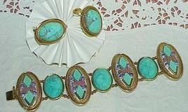 Michal Golan Gold Mosaic Gemstone Turquoise Amethyst Bracelet Earrings S... - $326.69