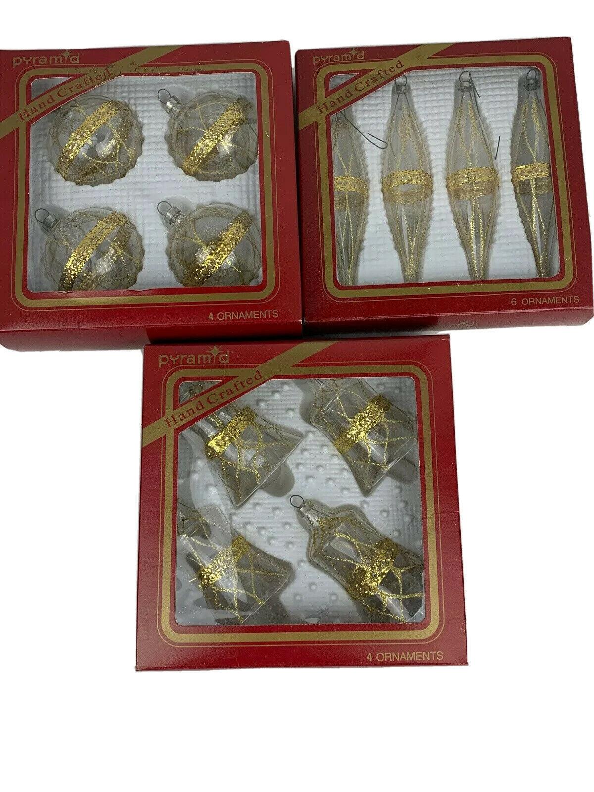 Vintage Pyramid Rauch Glass Gold Trim Christmas Ornaments Bells Teardrops - $15.80
