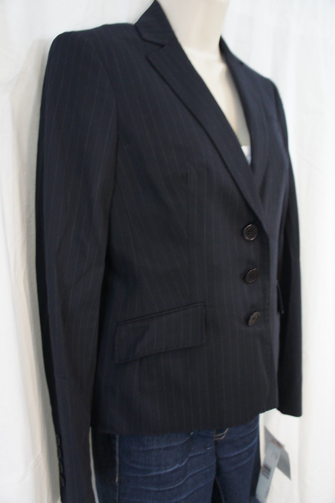 """Anne Klein Platinum Blazer Sz 8 Encre Multi Couleur """" Classiques """" Affaires"""