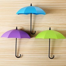 3Pcs Colorful Umbrella Wall Hook Key Hair Pin Holder Organizer Decorativ... - $14.09 CAD