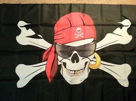 Flag 3X5 HAPPY Sunglass Dude Racing Race car BUCS Pirate Jolly Roger Party - $9.88